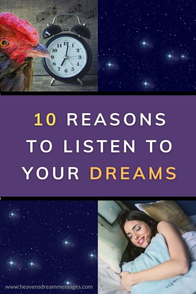 Picture of alarm clock, stars, lady sleeping, with text: 10 reasons to listen to your dreams