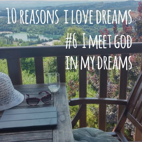 picture of chair with text: I meet God in my dreams