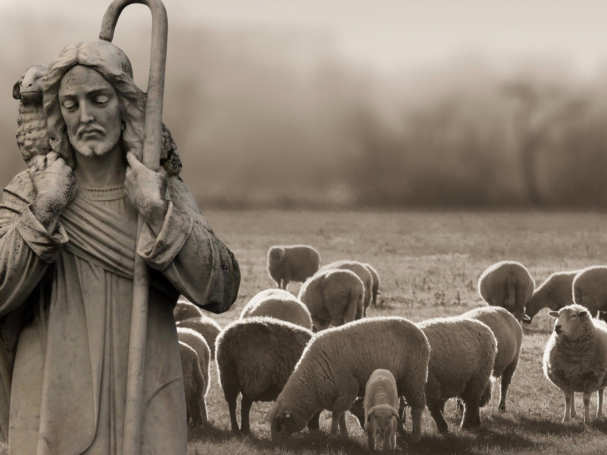 Picture of Jesus depicted as shepherd with sheep