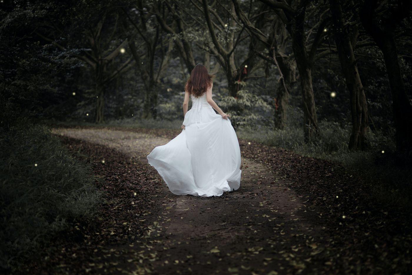 Picture of bride in dark woods