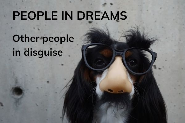Picture of a dog in dark glasses with text - people in dreams - other people in disguise
