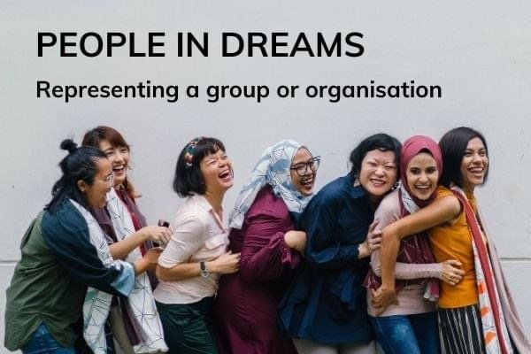 Picture of a group of ladies with text - people in dreams - representing a group or organisation