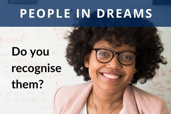 A picture of a lady with text - people in dreams, do you recognise them?
