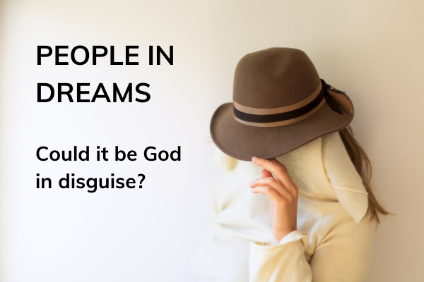 Picture of lady hidden behind a hat with text - people in dreams - could it be God in disguise?