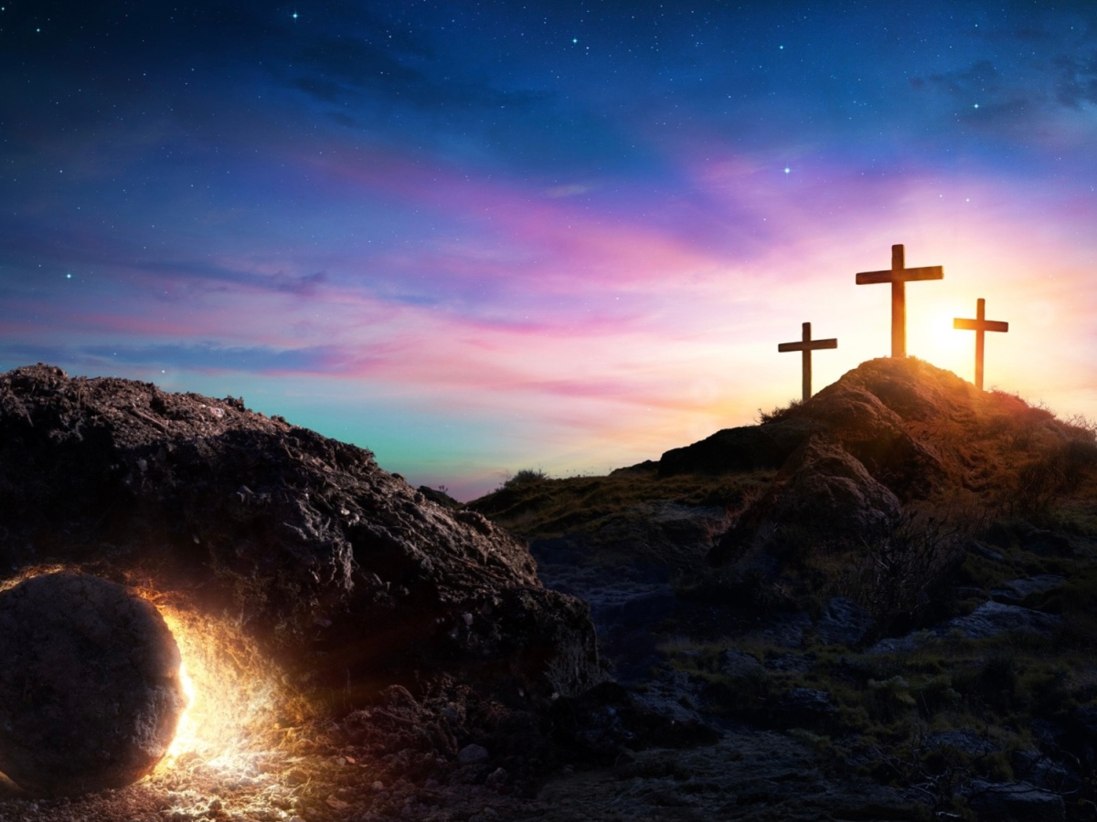 Picture of crosses on a hill, and an empty tomb