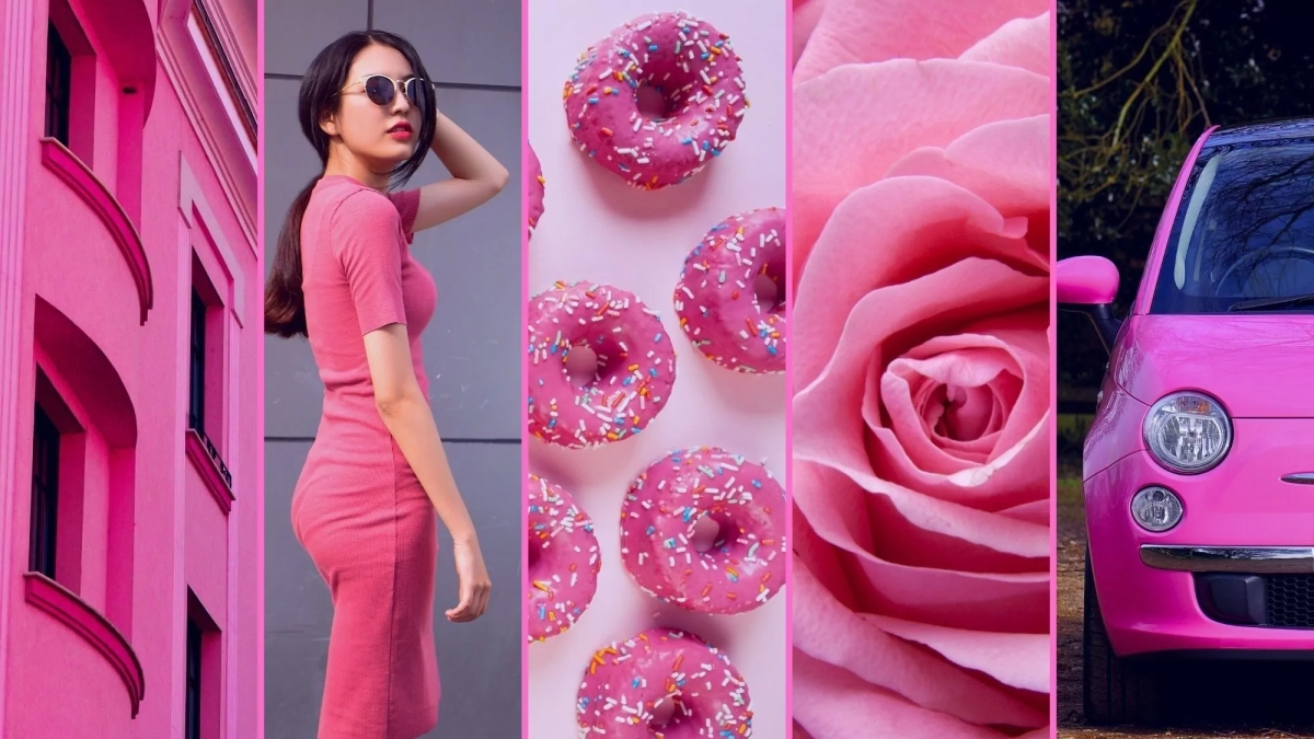 Picture of pink house, lady in pink dress, pink donuts, pink rose, pink car