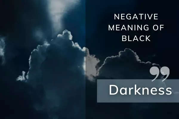 Picture of dark clouds with text: negative meaning of black in dreams - darkness