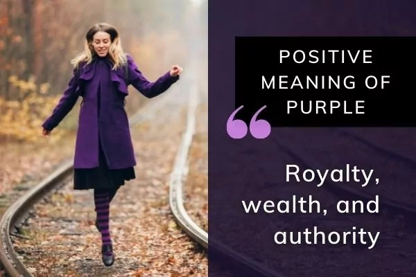 Picture of lady in purple coat with text: Positive meaning of purple in dreams - Royalty, wealth and authority