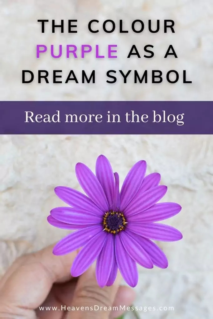 Picture of purple flower with text: meaning of purple as a dream symbol - read the blog
