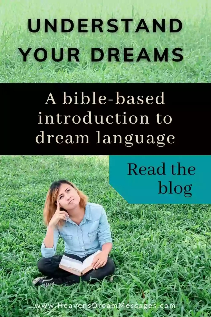 Picture of lady sitting on grass with text: Understand your dreams - a bible-based introduction to dream language - read the blog