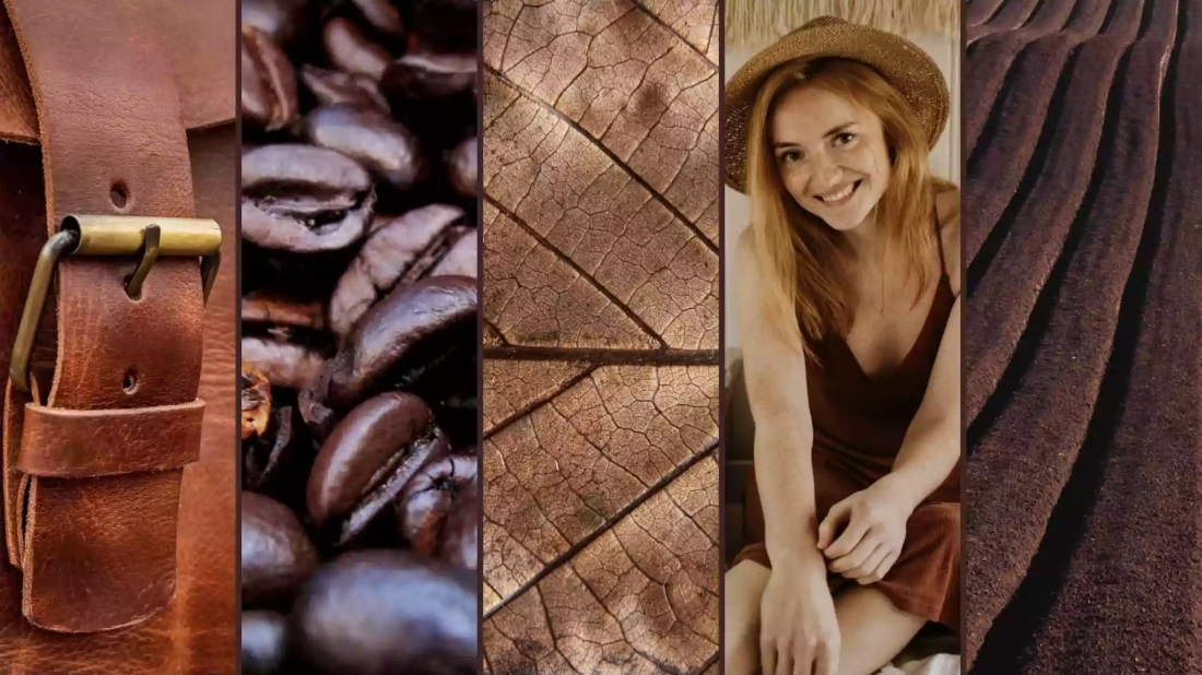 Picture of brown leather bag, coffee beans, brown leaf, girl in brown, brown fields